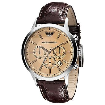 Emporio Armani AR2433 Brown Leather Champagne Dial Chronograph Watch