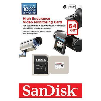 Tarjeta con el adaptador de SanDisk de 64 GB alta resistencia Video Monitering microSDXC.