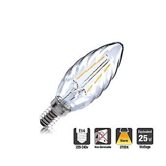 2R2/I1: Twisted Candle 2W 250Lm E14 Filament Non-Dimmable 330� Beam Angle 2700K. ILCANDE14N049