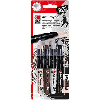 Marabu Creative Art Crayon Set 4/Pkg-Essentials - Flesh, Cocoa, White & Black 1409000-203