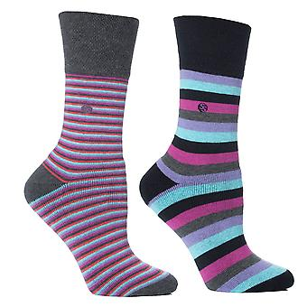 Womens Aqua Stripe Cushion Foot Honeycombe Top Gentle Grip Sock By Sock Shop 4pk