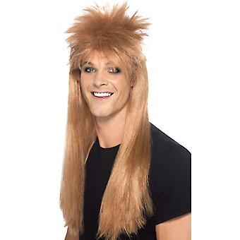 80s rocker mullet wig Brown