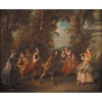 Nicolas Lancret - Children at Play in the Open Poster Print Giclee
