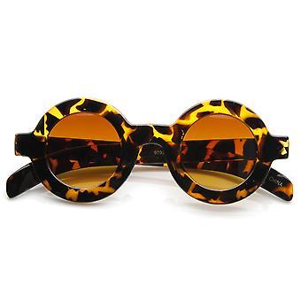 Retro Fashion Bold Frame Horned Rim Round Circle Sunglasses