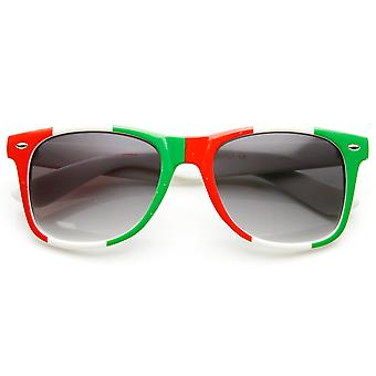 Classic Horn Rimmed Italy Mexican Flag Color Sunglasses