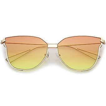 Oversize Cat Eye Sunglasses With Colorful Gradient Flat Lens And Wire Arms 59mm