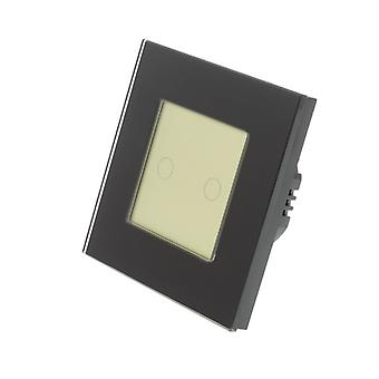 I LumoS Black Glass Frame 2 Gang 2 Way Touch LED Light Switch Gold Insert