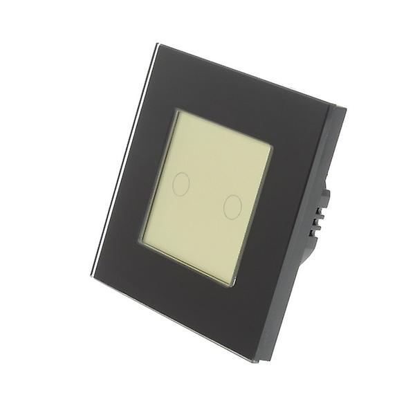I LumoS noir Glass Frame 2 Gang 1 Way WIFI 4G Remote & Dimmer Touch LED Light Switch or Insert