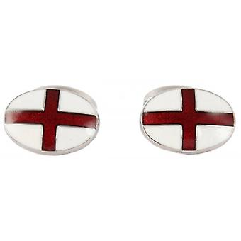 David Aster St George Flag Enamel Cufflinks - White/Red