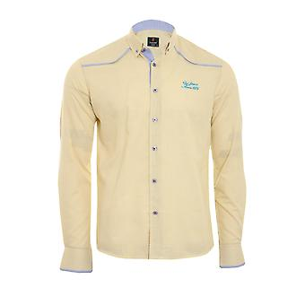 Tazzio fashion shirt men's long sleeve-shirt yellow button-down