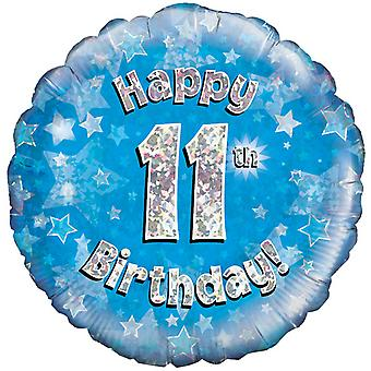 Oaktree 18 Inch Happy 11th Birthday Blue Holographic Balloon