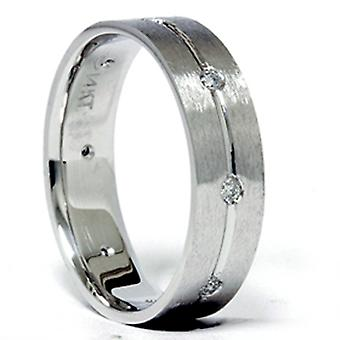 Mens White Gold Comfort Fit SI Diamond Wedding Band New