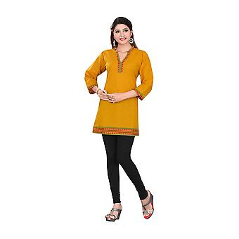 Mustard 3/4 sleeve Indian Cotton Kurti/Tunic with Golden neckline