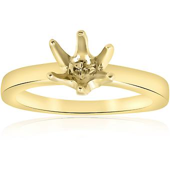 Yellow Gold 14K Solitaire Semi Mount Engagement Ring