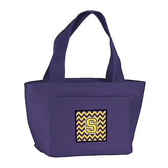Carolines Treasures  CJ1041-SPR-8808 Letter S Chevron Purple and Gold Lunch Bag