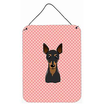 Checkerboard Pink Min Pin Wall or Door Hanging Prints