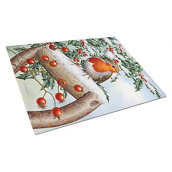 Carolines Treasures  ASA2077LCB European Garden Robin Glass Cutting Board Large