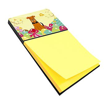 Carolines Treasures  BB6041SN Easter Eggs Airedale Sticky Note Holder