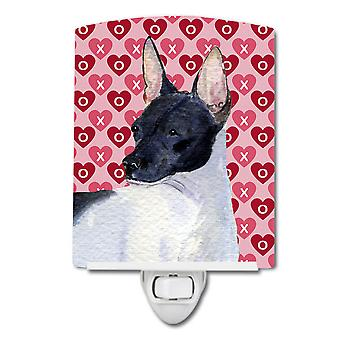 Rat Terrier Hearts Love and Valentine's Day Portrait Ceramic Night Light