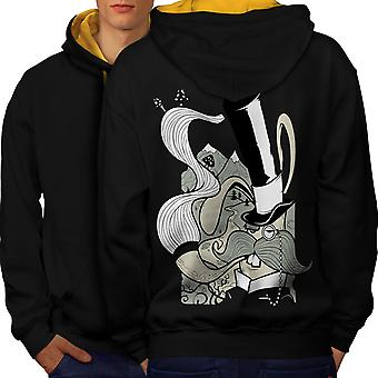 Hippie Smoking Men Black (Gold Hood)Contrast Hoodie Back | Wellcoda