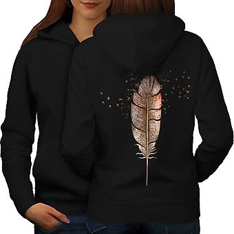 Soft Bird Feather Women BlackHoodie Back | Wellcoda