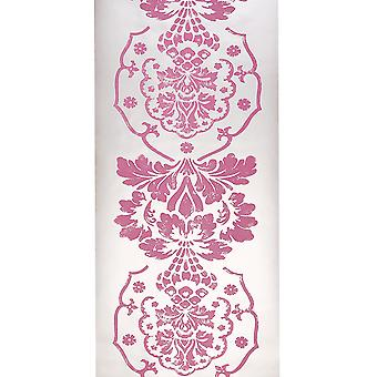 Designers Guild Silver & Pink Wallpaper Roll - Textured Bukhara Design - P433/02