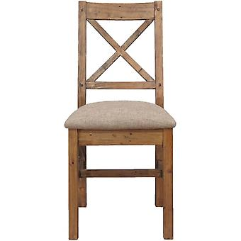 Classic Pair Of Camden Reclaimed Pine Cross Back Dining Chair (cushion Seat)