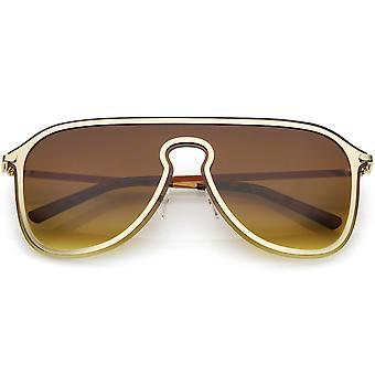 Futuristic Rimless Visor Aviator Sunglasses Metal Trim Mono Lens 57mm