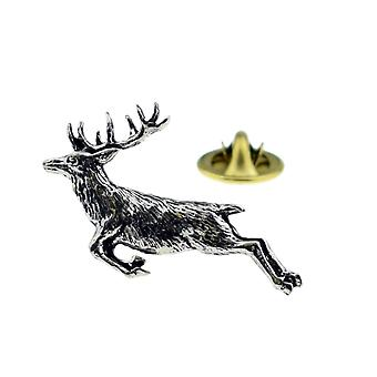 Jumping Stag Pewter Lapel Pin Badge