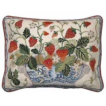 Cream Strawberry Fair Needlepoint Canvas