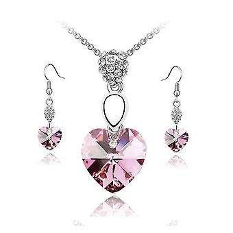 Light Pink Crystal Elements Heart Pendant Necklace And Earrings Set Jewelry