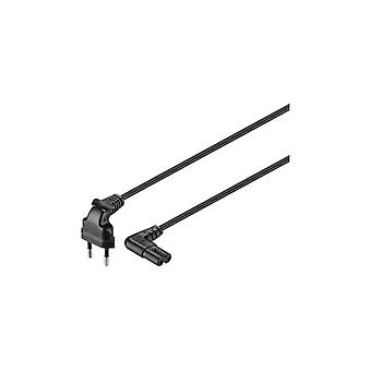 Qnect Mains cable 2-pin Euro to C7 angled, 3 m, black