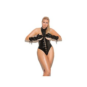 Elegant Moments EM-V4341X Vinyl cupless teddy with lace up front plus sizes