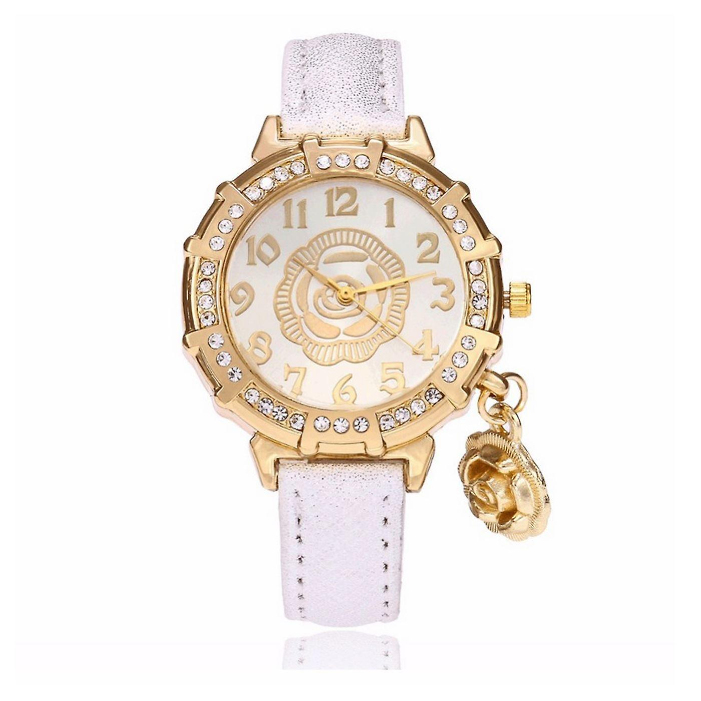 Classy Yellow Gold Flower Watch Luxury Stones Elegant Time White