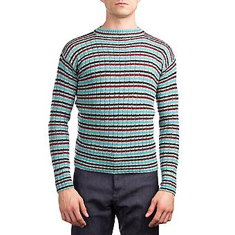 Prada Men's Wool Knitted Crew Neck Striped Sweater Blue Teal