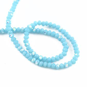 95+ Cyan Czech Crystal Opaque Glass 4 x 6mm AB Faceted Rondelle Beads HA20605