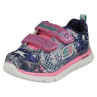 Girls Skechers Casual Trainers Skech-Lite 82058 - Navy/Multi Textile - UK Size 9 - EU Size 26 - US Size 10