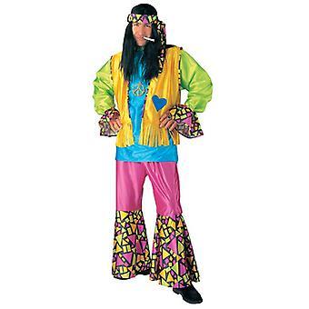 HIPPIE BOY COSTUME (SHIRT VEST PANTS HEADBAND)