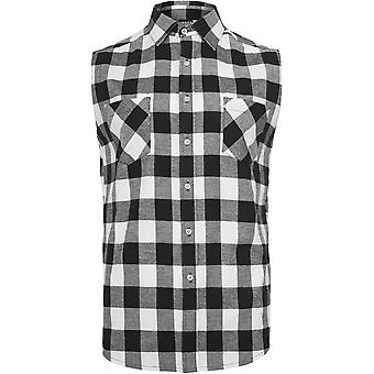 Urban classics men's Sleeveless checked flannel shirt