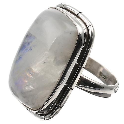 Silver Blue Fire Moonstone Rectangular Ring