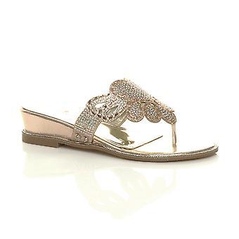 Ajvani kvinners lav midt kile hæl diamante kvelden toe legge sandaler muldyr