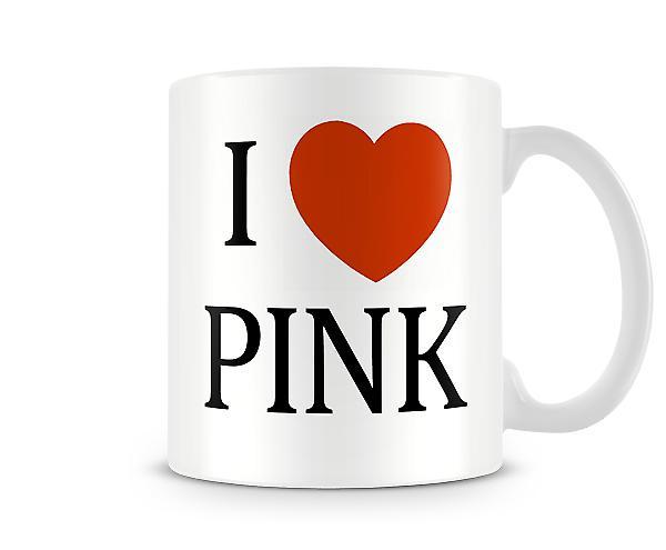 Jag älskar rosa tryckt mugg