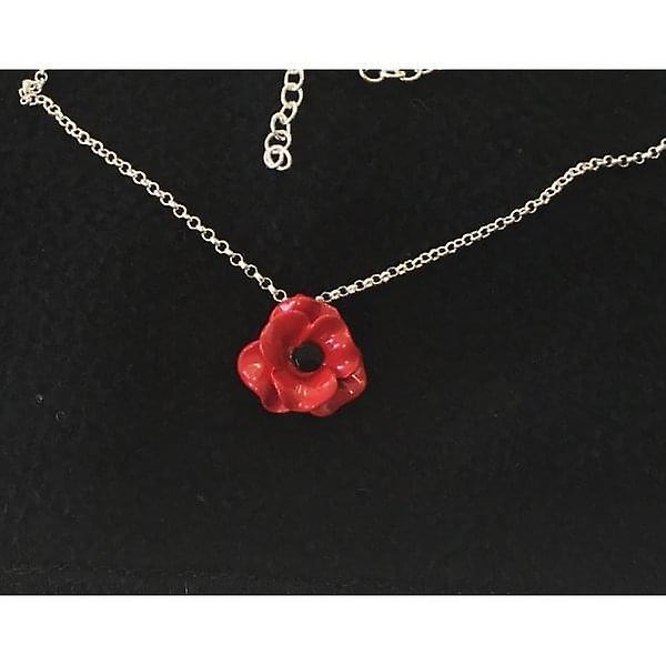 Union Jack Wear  Poppy Necklace. Single Small Poppy Matt