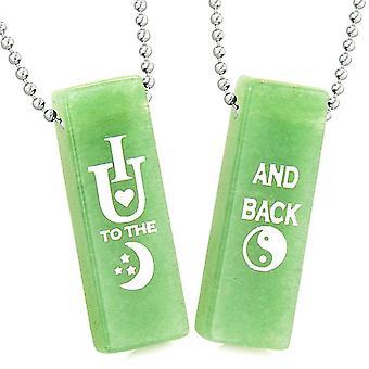 Ich liebe dich bis zum Mond und zurück magische Paare oder beste Freunde Amulette grüne Quarz Tag Halsketten