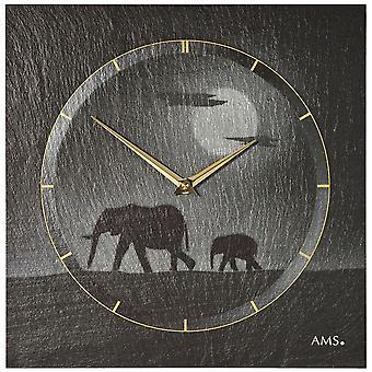 Wall clock quartz of slate natural slate slate clock silver elephant