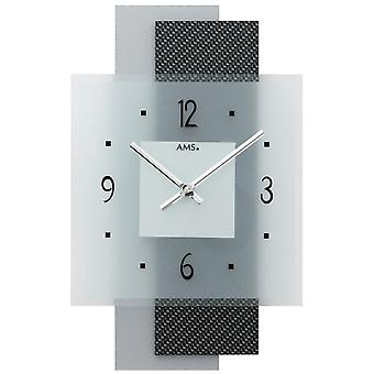Quartz wall clock wall clock quartz carbon application on wood-mineral glass back wall