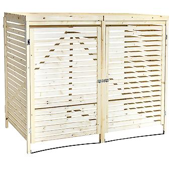 Charles Bentley Double Wooden Bin Store Wheelie Bin Storage Unit Lifting Lid 2 Front Doors Locks Open Back