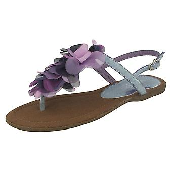 Damen-Spot auf flachen Fuß Post Sandale mit Blume Detail