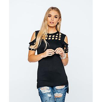 Ladies Cold Shoulder Laser Cut Caged Style Textured High Low Tunic Mini Dress