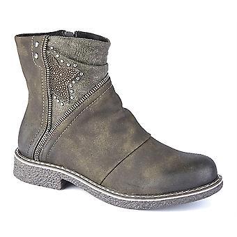 Ladies Womens Low Block Heel Buckle Inside Zip Ankle Boots Shoes